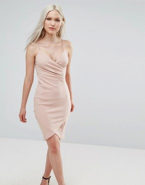 photo Wrap Front Ruched Dress by AX Paris, color Blush - Image 1
