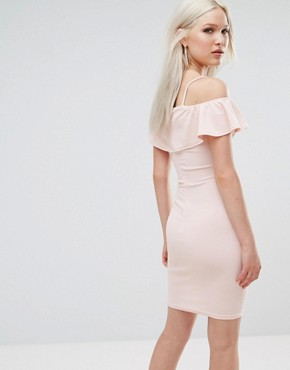photo Bardot Cross Front Bodycon Dress by AX Paris, color Pink - Image 2