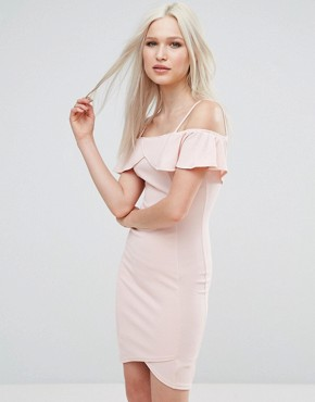 photo Bardot Cross Front Bodycon Dress by AX Paris, color Pink - Image 1