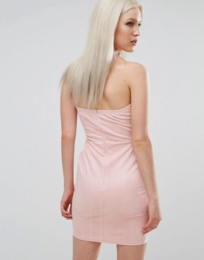 photo Suedette Bandeau Dress by AX Paris, color Pink - Image 2
