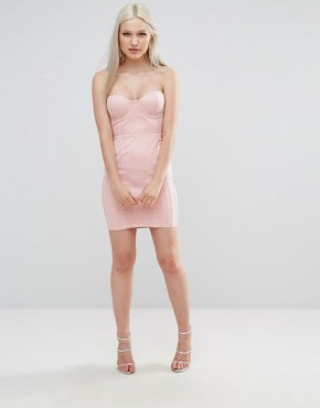 photo Suedette Bandeau Dress by AX Paris, color Pink - Image 4