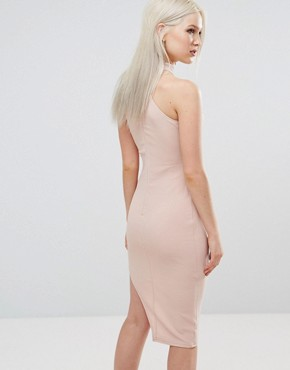 photo High Neck Asymmetric Bodycon Dress by AX Paris, color Blush - Image 2