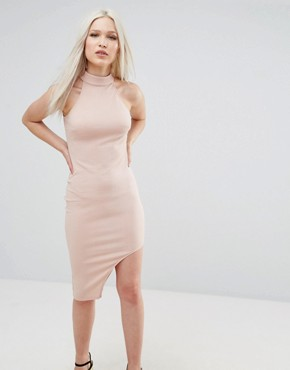 photo High Neck Asymmetric Bodycon Dress by AX Paris, color Blush - Image 1