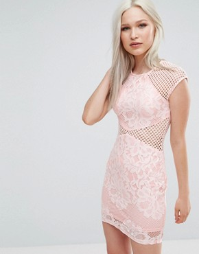 photo Fishnet Insert Bodycon Dress by AX Paris, color Pink - Image 1
