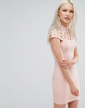 photo Dress with Lace Insert by AX Paris, color Pink - Image 1
