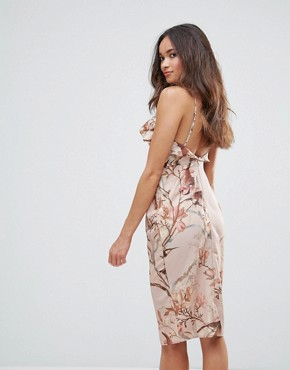 photo Frill Front Pencil Dress with Low Back by Hope & Ivy, color Nude - Image 2