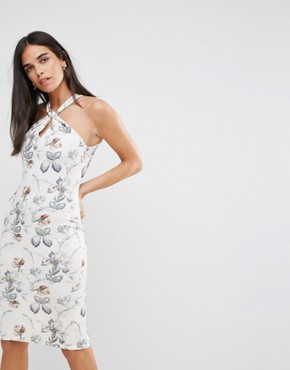 photo Halterneck Midi Dress in Floral Print by Hope & Ivy, color Cream - Image 1