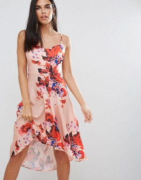 photo Floral Hi Lo Dress by Hope & Ivy, color Pink - Image 1