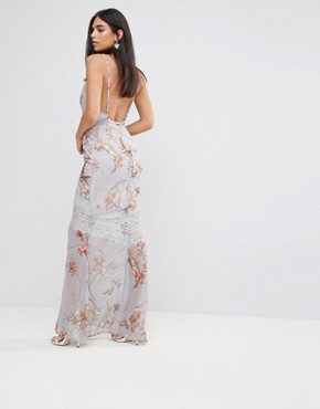 photo Floral Cami Maxi Dress with Eyelash Lace Trim by Hope & Ivy, color Grey - Image 2
