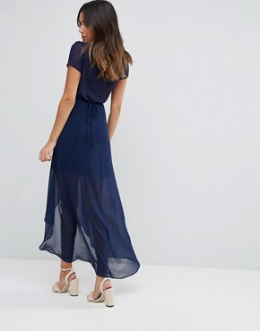 photo Wrap Maxi Dress by Hope & Ivy, color Navy - Image 2