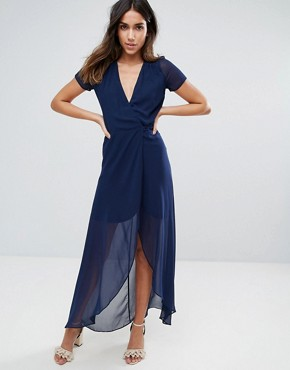 photo Wrap Maxi Dress by Hope & Ivy, color Navy - Image 1