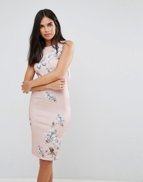 photo Floral Pencil Midi Dress with Cut Out Back by Hope & Ivy, color Nude - Image 2