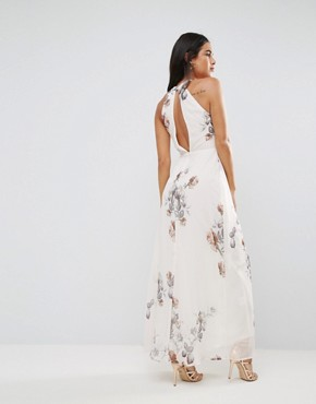 photo Halterneck Maxi Dress in Floral & Bird Print by Hope & Ivy, color Cream - Image 2