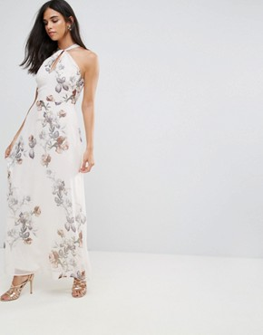 photo Halterneck Maxi Dress in Floral & Bird Print by Hope & Ivy, color Cream - Image 1