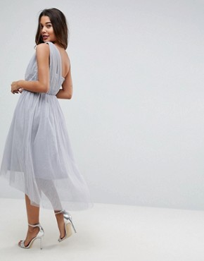 photo Crystal Bodice Tulle One Shoulder Midi Prom Dress by ASOS PREMIUM, color Grey - Image 2