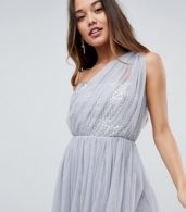 photo Crystal Bodice Tulle One Shoulder Midi Prom Dress by ASOS PREMIUM, color Grey - Image 3