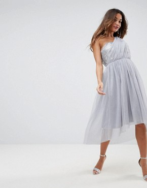 photo Crystal Bodice Tulle One Shoulder Midi Prom Dress by ASOS PREMIUM, color Grey - Image 4