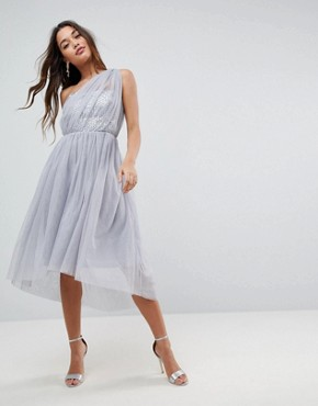 photo Crystal Bodice Tulle One Shoulder Midi Prom Dress by ASOS PREMIUM, color Grey - Image 1