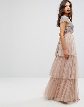 photo Cape Sleeve Tiered Maxi Dress in Tonal Delicate Sequin with Bow Back by Maya, color Mink - Image 2