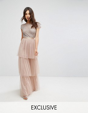 photo Cape Sleeve Tiered Maxi Dress in Tonal Delicate Sequin with Bow Back by Maya, color Mink - Image 1