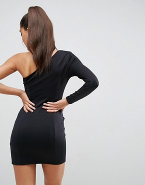 photo One Shoulder Gold Piercing Thigh Split Mini Dress by ASOS, color Black - Image 2