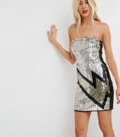 photo Embellished Lightning Bolt Bandeau Mini Dress by ASOS, color Multi - Image 1