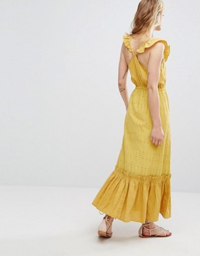 photo Tiered Maxi Dress by Moon River, color Mustard - Image 2
