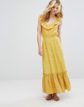 photo Tiered Maxi Dress by Moon River, color Mustard - Image 1