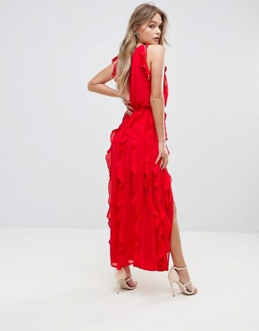 photo Ruffle Maxi Dress by Moon River, color Red - Image 2