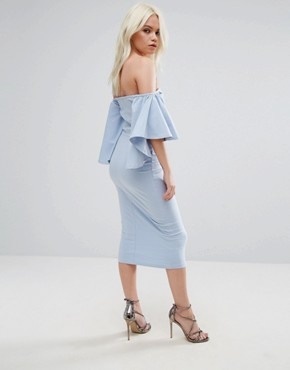 photo Bardot Fluted Sleeve Midi Dress by ASOS PETITE, color Pastel Blue - Image 2