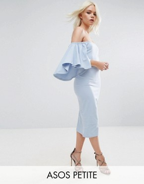 photo Bardot Fluted Sleeve Midi Dress by ASOS PETITE, color Pastel Blue - Image 1