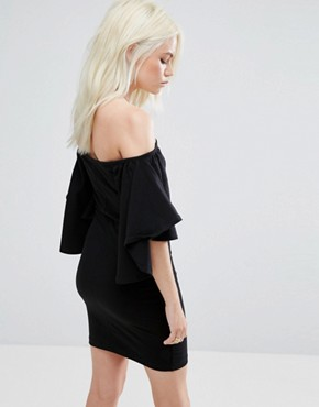 photo Fluted Sleeve Mini Dress by ASOS PETITE, color Black - Image 2