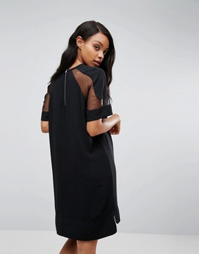 photo Mouton Mesh Sleeve Dress by Samsoe & Samsoe, color Black - Image 2