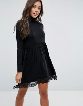 photo Polo Neck Skater Dress with Lace Hem by ASOS, color Black - Image 1