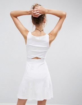 photo Mini Cut Out Elastic Waist Skater Dress by ASOS, color White - Image 2
