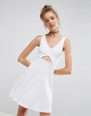photo Mini Cut Out Elastic Waist Skater Dress by ASOS, color White - Image 1