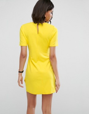 photo Mini Skater Dress with Twist Front by ASOS, color Yellow - Image 2