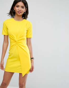 photo Mini Skater Dress with Twist Front by ASOS, color Yellow - Image 1