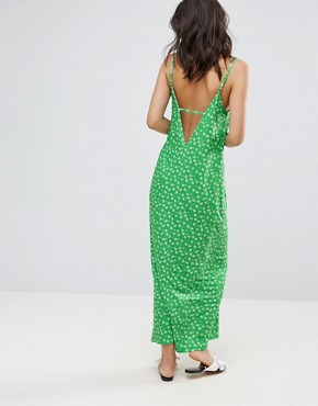 photo Maxi Dress with V-Back in Ditsy Print by ASOS, color Ditsy Print - Image 2