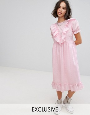 photo Midi Broderie Dress with Trims & Frills by Reclaimed Vintage Inspired, color Pink - Image 1