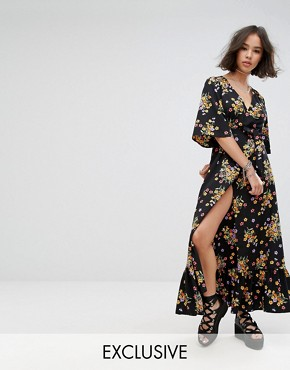 photo Wrap Front Maxi Dress by Reclaimed Vintage Inspired, color Black - Image 1