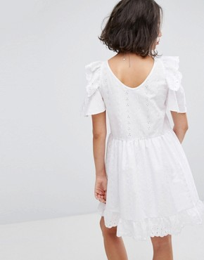 photo Broderie Mini Dress with Trims & Frills by Reclaimed Vintage Inspired, color White - Image 2