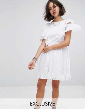 photo Broderie Mini Dress with Trims & Frills by Reclaimed Vintage Inspired, color White - Image 1