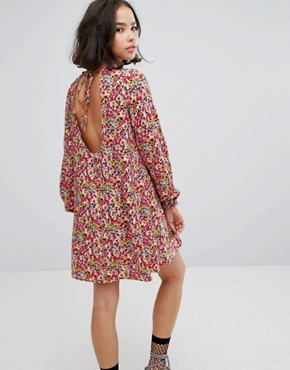 photo Tie Back Swing Dress in Multicolour Ditsy Floral by Reclaimed Vintage Inspired, color Multi - Image 2