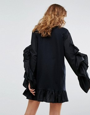 photo Long Sleeve T-Shirt Dress with Ruffle Sleeve by Reclaimed Vintage Inspired, color Black - Image 2