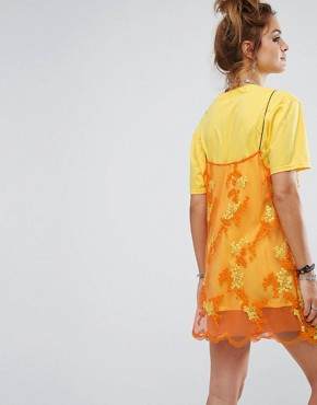 photo T-Shirt Dress with Smock Lace Overlay by Reclaimed Vintage Inspired, color Yellow - Image 2