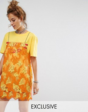 photo T-Shirt Dress with Smock Lace Overlay by Reclaimed Vintage Inspired, color Yellow - Image 1