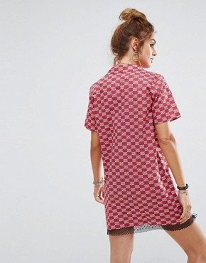 photo Short Sleeve Boxy Shirt Dress by Reclaimed Vintage Inspired, color Red - Image 2