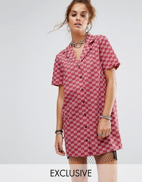 photo Short Sleeve Boxy Shirt Dress by Reclaimed Vintage Inspired, color Red - Image 1