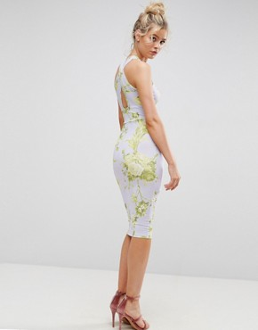 photo Floral Cross Front Midi Bodycon Dress by ASOS, color Multi - Image 2